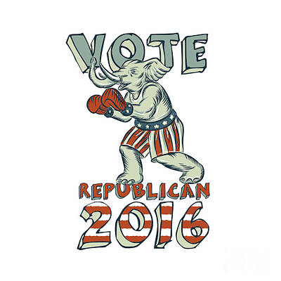 Vote Republican 2016 Elephant Boxer Isolated Etching Poster by Aloysius Patrimonio