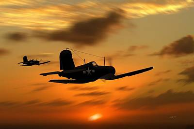 Vought Corsairs At Sunset Poster by John Wills