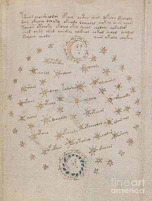 Voynich Manuscript Astro Sun And Moon 1 Poster