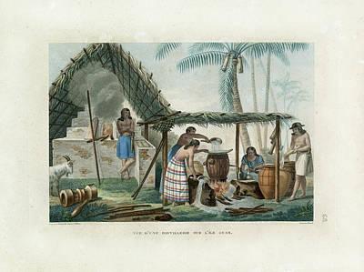 Vue Dune Distillerie Sur L Ile Guam Distillery Scene On Guam Poster by d Apres A Pellion