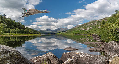 Vulcan Over Lake Poster