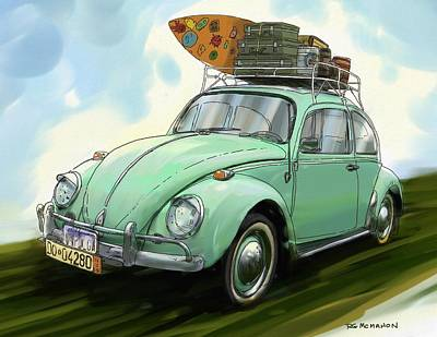 Vw Beach Bug Poster by RG McMahon