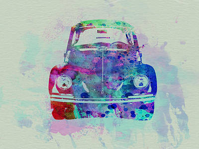 Vw Beetle Watercolor 2 Poster by Naxart Studio