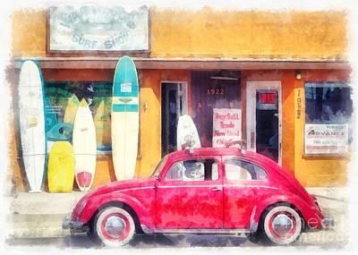 Vw Surfer Watercolor Poster by Edward Fielding