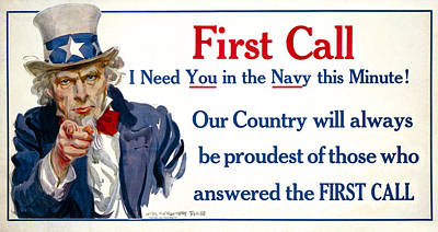 W W 1  Uncle Sam Navy Recruitment Poster 1917 Poster by Daniel Hagerman