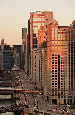 Wacker Drive Sunset Chicago Poster