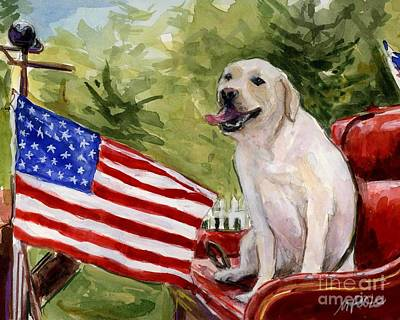 Poster featuring the painting Wag The Flag by Molly Poole