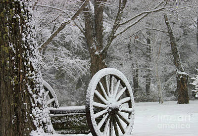 Wagon Wheel Snow-zoom Poster by Michael Mooney