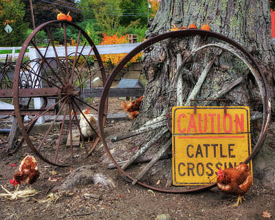 Wagon Wheels And Chickens - Farm Scenes Poster by Joann Vitali