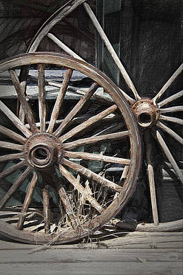 Wagon Wheels - Pioneer Village Poster by Steve Ohlsen