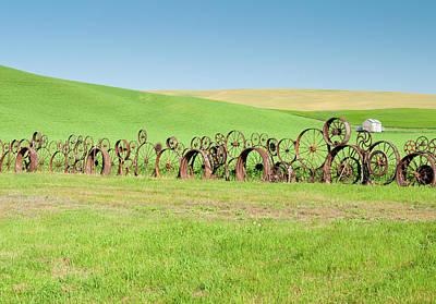 Wagon Wheels Stacked Palouse Washington Poster by James Hammond