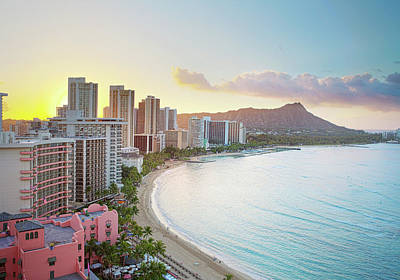 Waikiki Beach At Sunrise Poster by Monica and Michael Sweet