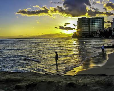 Waikiki Beach At Sunset Poster by Gordon Engebretson