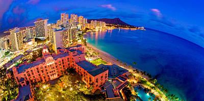 Waikiki Hawaii Sunset Poster by Monica and Michael Sweet
