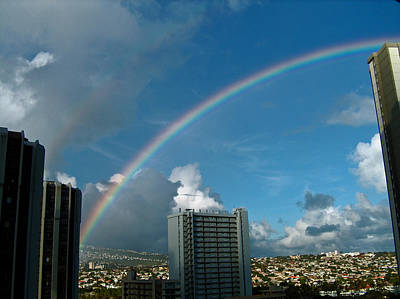 Poster featuring the photograph Waikiki Rainbow by Anthony Baatz