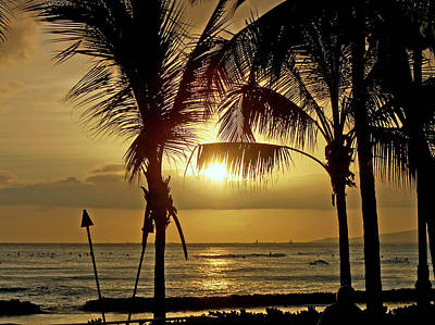 Poster featuring the photograph Waikiki Sunset by Anthony Baatz