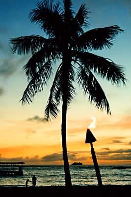 Waikiki Sunset Poster by DJ Florek