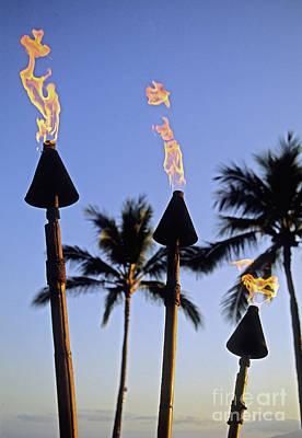 Waikiki, Tiki Torches Poster by Carl Shaneff - Printscapes