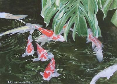 Poster featuring the mixed media Waikoloa Koi Pond by Constance Drescher