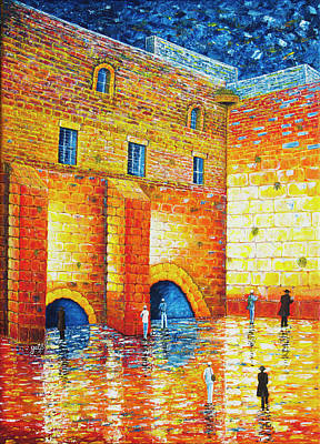 Poster featuring the painting Wailing Wall Original Palette Knife Painting by Georgeta Blanaru