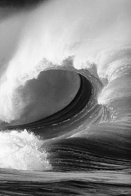Waimea Bay Wave - Bw Poster by Vince Cavataio - Printscapes