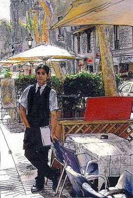 Waiter On La Rambla Poster