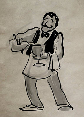 Waiter Pouring Wine Poster by Ray Hofstedt