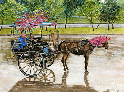 Poster featuring the painting Waiting For Rider Jakarta Indonesia by Melly Terpening