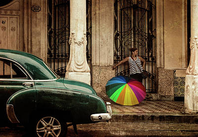 Waiting Out The Rain In Havana Cuba Poster