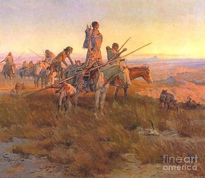 Poster featuring the painting Wake Of The Buffalo Runners by Pg Reproductions