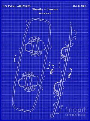 Wakeboard Patent Blueprint Drawing Poster