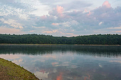 Walden Pond Morning Light Concord Ma Red Clouds Poster