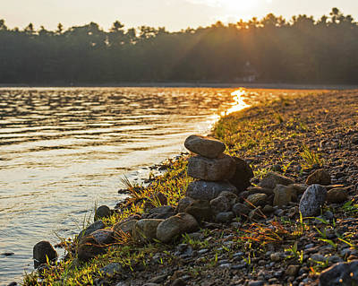Walden Pond Rock Cairn At Sunrise Concord Ma Poster