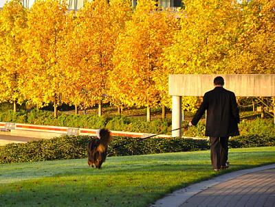 Walkies In Autumn Poster