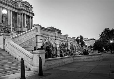 Walking By The Library Of Congress In Black And White Poster by Greg Mimbs
