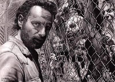 Walking Dead Faceing  Poster by Oscar Benero Lopez