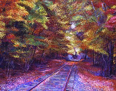 Walking Down The Railway Tracks Poster by David Lloyd Glover