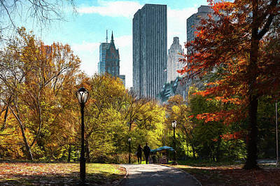 Walking In Central Park Poster
