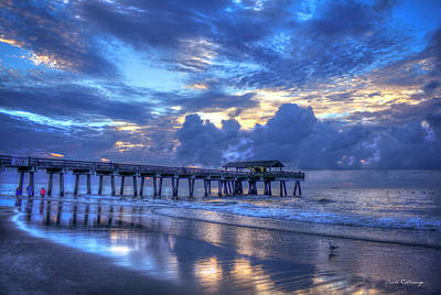 Walking In The Reflections Tybee Island Pier Sunrise Art Poster