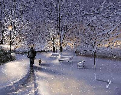 Poster featuring the painting Walking In The Snow by Veronica Minozzi