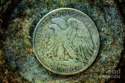Poster featuring the digital art Walking Liberty Half Dollar Reverse by Randy Steele