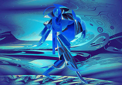 Poster featuring the digital art Walking On A Stormy Beach by Robert G Kernodle