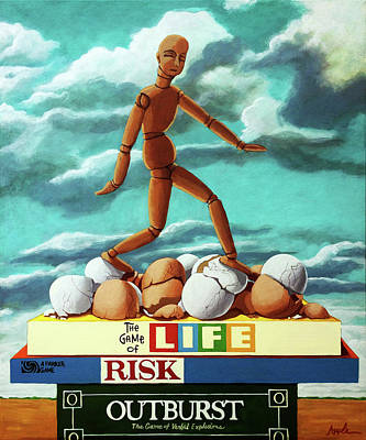 Poster featuring the painting Walking On Eggshells Imaginative Realistic Painting by Linda Apple
