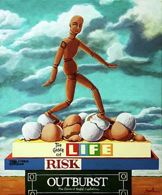 Walking On Eggshells Imaginative Realistic Painting Poster