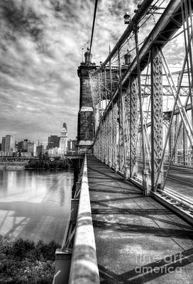 Walking On John Roebling's Bridge Bw Poster by Mel Steinhauer