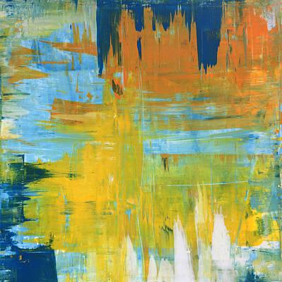 Walking On Sunshine - 48x48 Huge Original Painting Art Abstract Artist Poster by Robert R Splashy Art Abstract Paintings