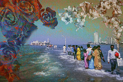 Walking On Water To The Mosque Of Haji Ali In Dragah, Maharastra Poster by Hans Schrodter
