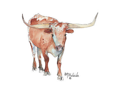 Walking Tall Texas Longhorn Watercolor And Ink By Kmcelwaine Poster