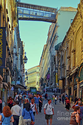 Poster featuring the photograph Walkway Over The Street - Lisbon by Mary Machare