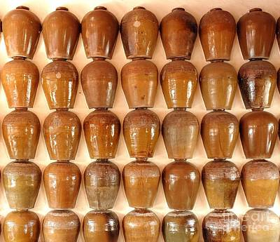 Poster featuring the photograph Wall Of Ceramic Jugs by Yali Shi